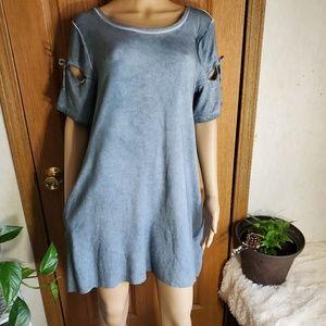 The Faded denim blue ripped raw hem tshirt dress